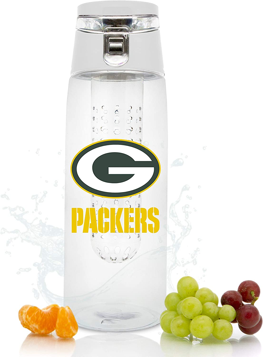 Duck House NFL unisex NFL Fruit Infuser Sport Water Bottle | Food Grade Material | Leak-Proof Flip Top Lid | Removable Infusion Rod | Easy to Clean | BPA-Free | 20oz