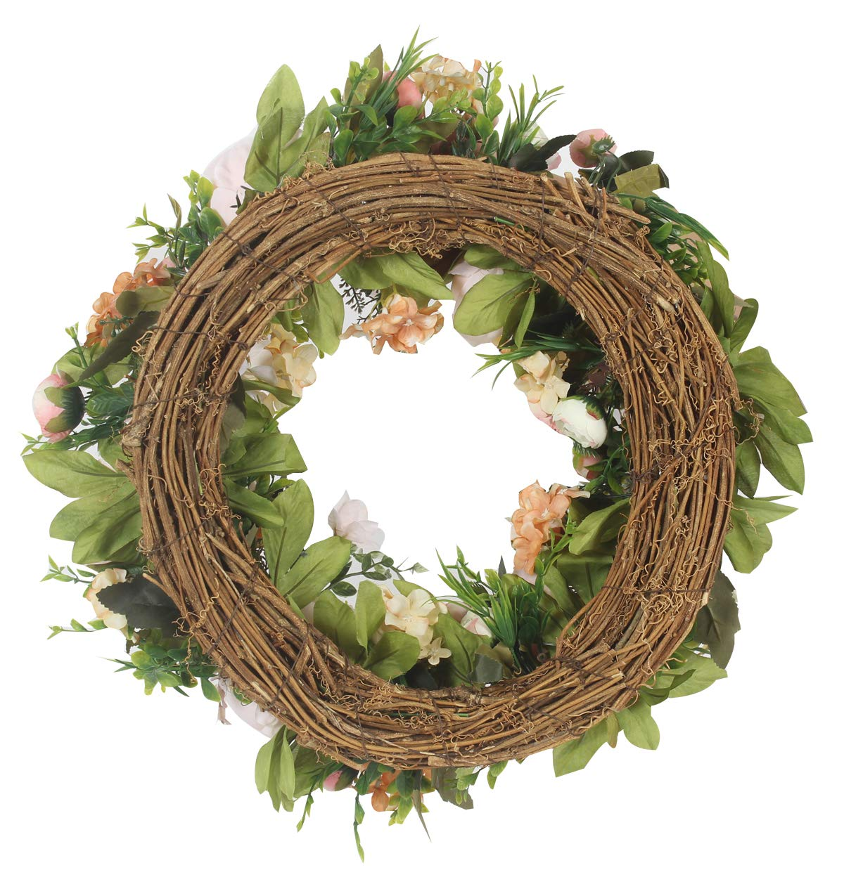 Duovlo Artificial Peony Flower Wreath Silk Wreath 20-Inch Beautiful Handcrafted Mix Flowers Front Porch Decoration