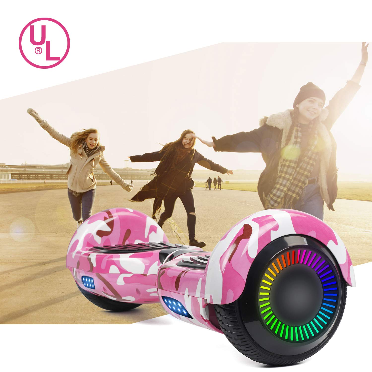 SISIGAD Hoverboard Self Balancing Scooter 6.5'' Two-Wheel Self Balancing Hoverboard with LED Lights Electric Scooter for Adult Kids Gift UL 2272 Certified Fun Edition - Pink Camou by SISIGAD (Image #7)