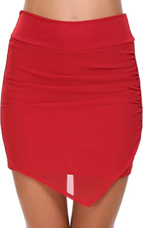 Zeagoo Women Yoga Running Swim UV Protection Sport Skirt High Waist Pleated Athletic Shorts