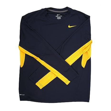 5ca9392880cb Amazon.com  Nike Men s Vapor Navy Yellow Dri-Fit Long Sleeve Training Shirt  - Medium  Sports   Outdoors