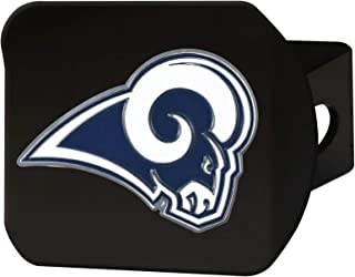 """product image for FANMATS 22577 NFL Los Angeles Rams Metal Hitch Cover, Black, 2"""" Square Type III Hitch Cover,Blue"""