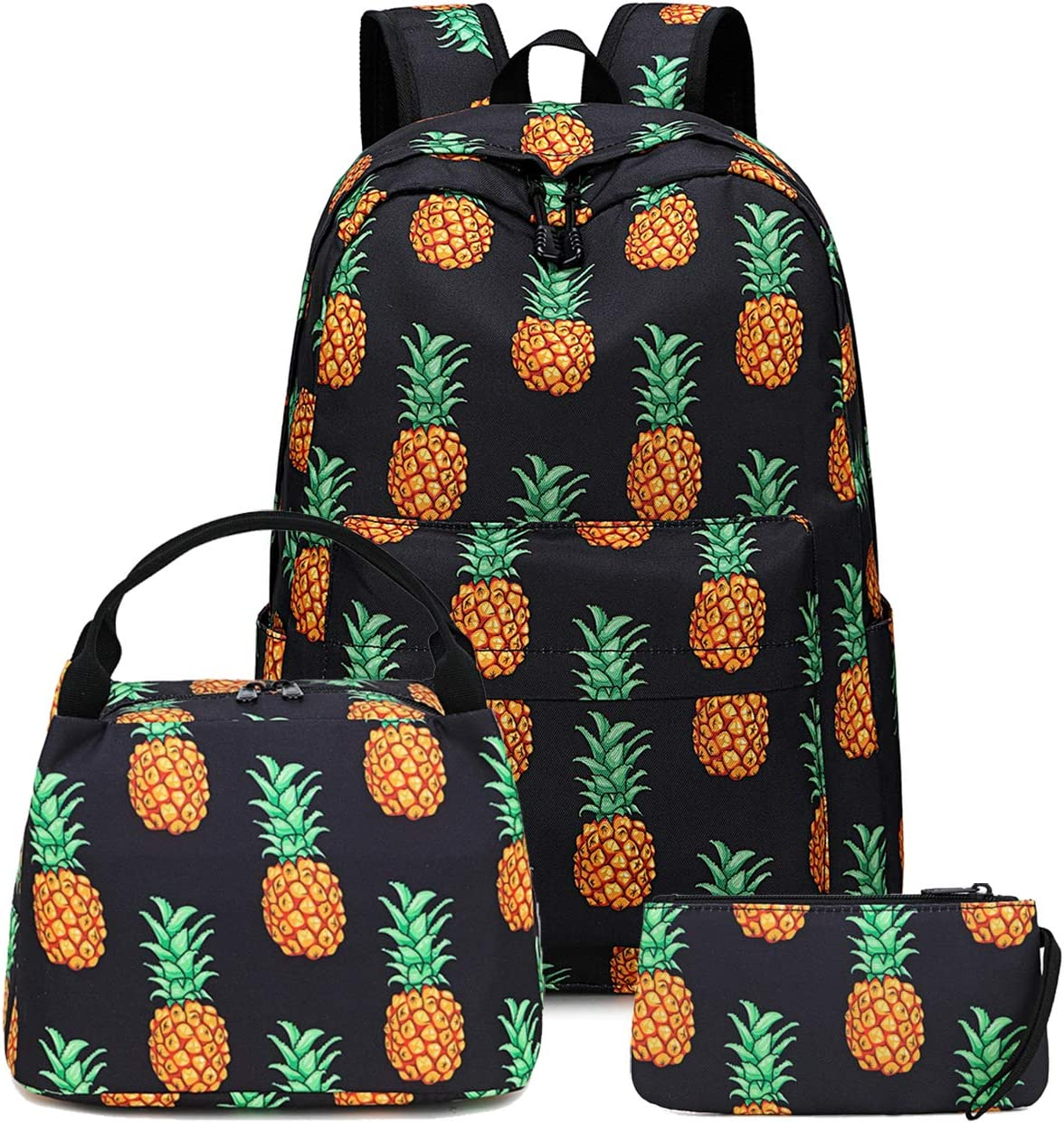 Teens Backpack School Grils Bookbag Schoolbag with Lunch tote and Pencilcase for Kids backpack set (Black)