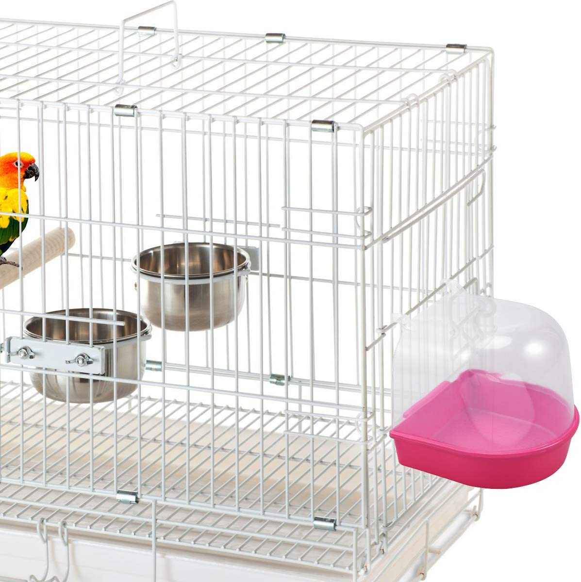 POPETPOP Caged Bird Bath Multi Cage Bird Bath Covered for Small Birds Parrot Canary Budgies Parrot Red