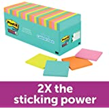 Post-it Super Sticky Notes, 4 Neon Colors, Standard Size, 3 in x 3 in