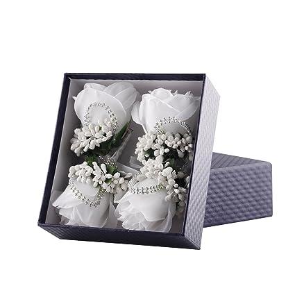 Amazon.com: YSUCAU - Broche de flores de novio artificiales ...