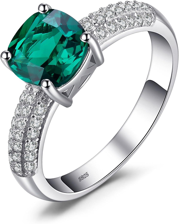 JewelryPalace Anillo Cuadrado Elegante Nano Rusa Esmeralda Simulada Plata de ley 925