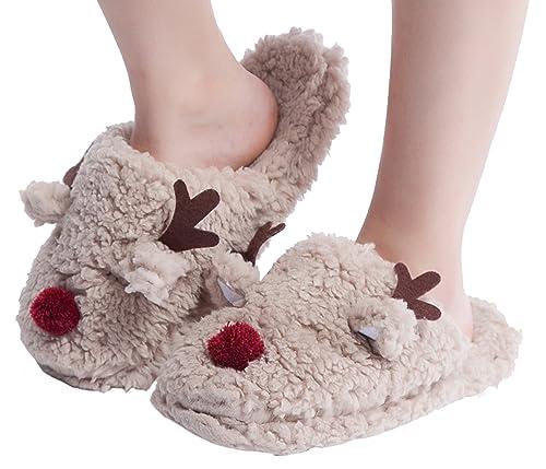 Amazon.com   MaaMgic Womens Fuzzy Animal Slippers Ladies Cute ...