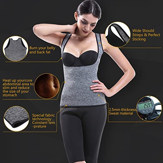 733f69941be97 MOVWIN Sweat Sauna Vest Women Body Shaper Weight Loss Vest Waist Trainer Shapewear  Fat Loss Suit Neoprene Sports Top  Amazon.co.uk  Sports   Outdoors
