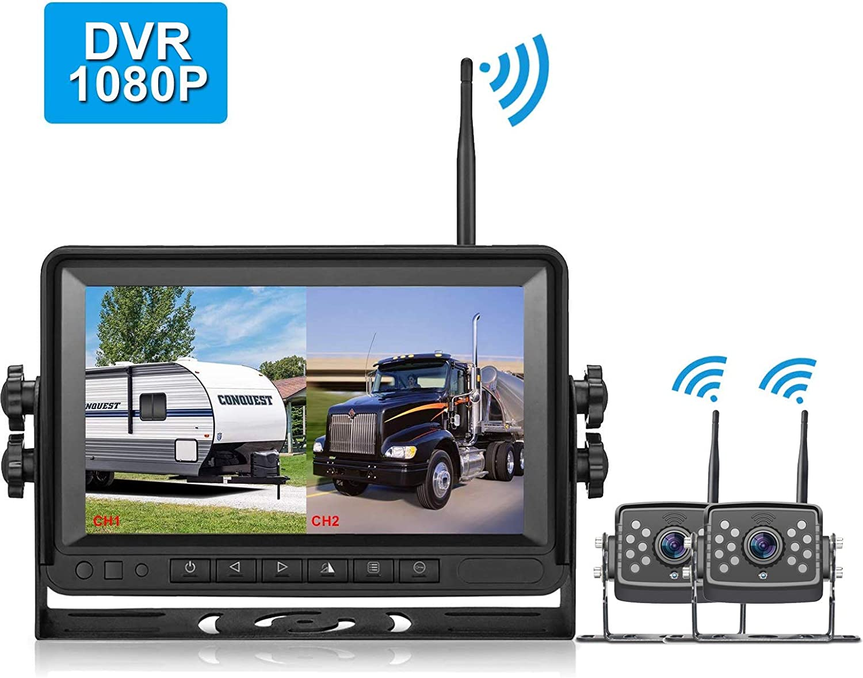 LeeKooLuu 2020 DVR Digital Wireless Rear View 2 Cameras FHD 1080P and 7'' MonitorSuper Night Vision High-Speed Observation System IP69K Waterproof for RVs/Trailers/Motorhome/5th Wheels/Campers