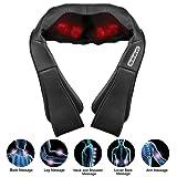 FITFIRST Shiatsu Massage Nacken Schulter Massagegerät Infrarotheizung mit Wärme 3D-Rotation Masseur für Rücken Schenkel Massage für Zuhause Büro Auto mit waschbare Hülle
