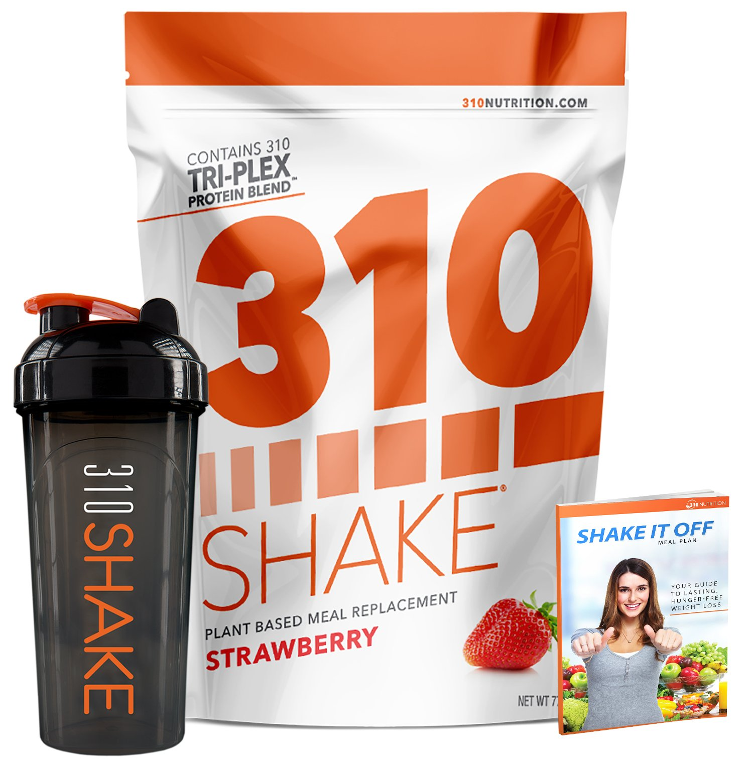 Strawberry Meal Replacement | 310 Shake Protein Powder is Gluten and Dairy free, Soy Protein and Sugar Free | Includes 310 Shaker and Free Recipe eBook (DIGITAL) | 28 Servings