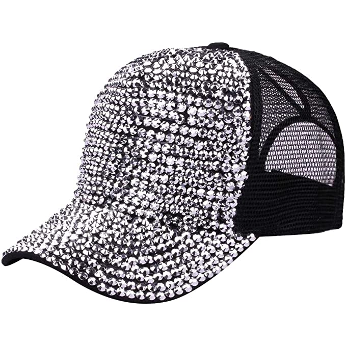 3616eb273d4 Ztl Studded Rhinestone Bling Baseball Cap High Messy Bun Ponytail  Adjustable Hat, Black