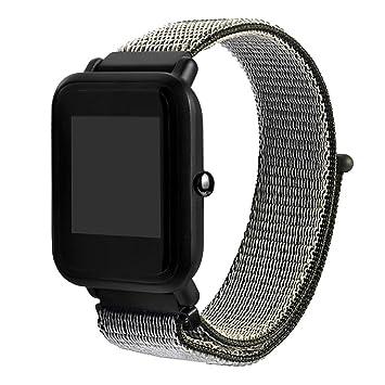 QHJ Reloj de pulsera para Xiaomi huami amazfit Bip, nailon Reloj banda con cierre rápido