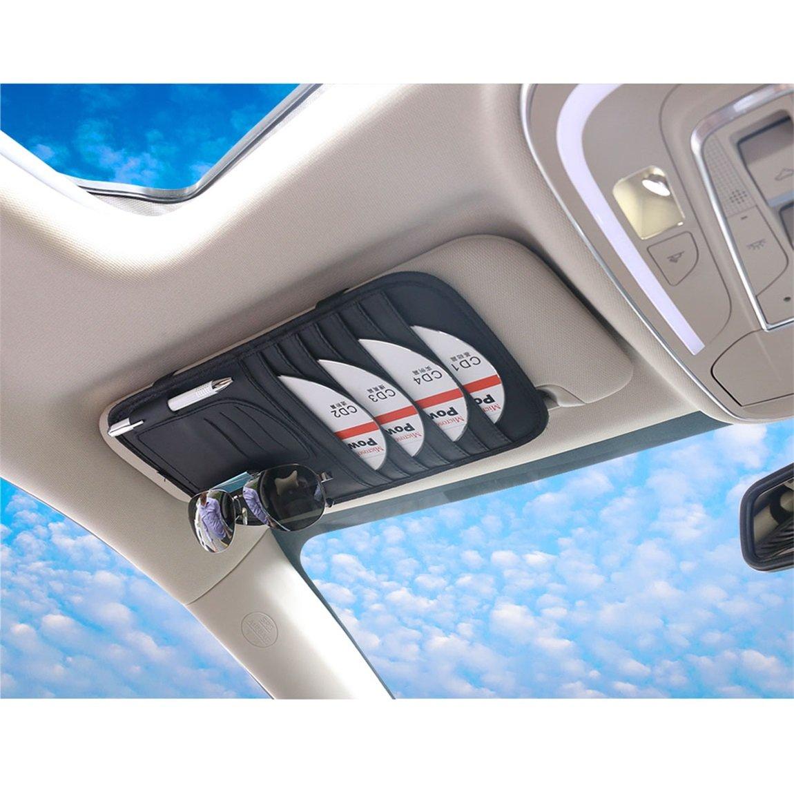 SZAT PRO Leather Car Sun Visor CD Holder Organizer Case Storage Clip Grey 4350465835