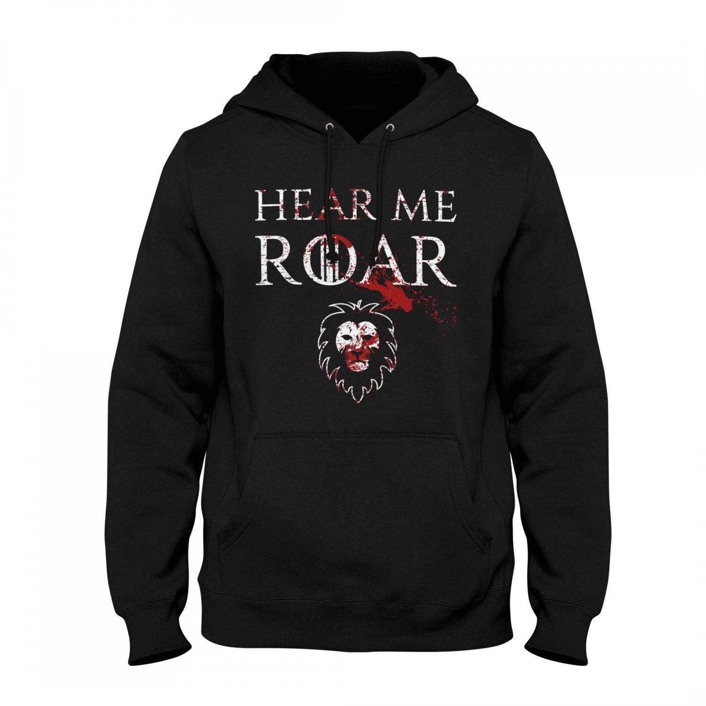 Fashionalarm Herren Kapuzen Pullover - House Lannister Hear Me Roar   Fan Hoodie mit Motto Spruch als Geschenk Idee zur GoT Serie Löwe Lion
