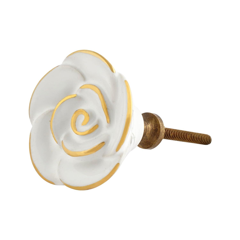 Set of 4 White Rose Decorative Ceramic Knobs with Gold Detailing / Cabinet or Dresser Pulls