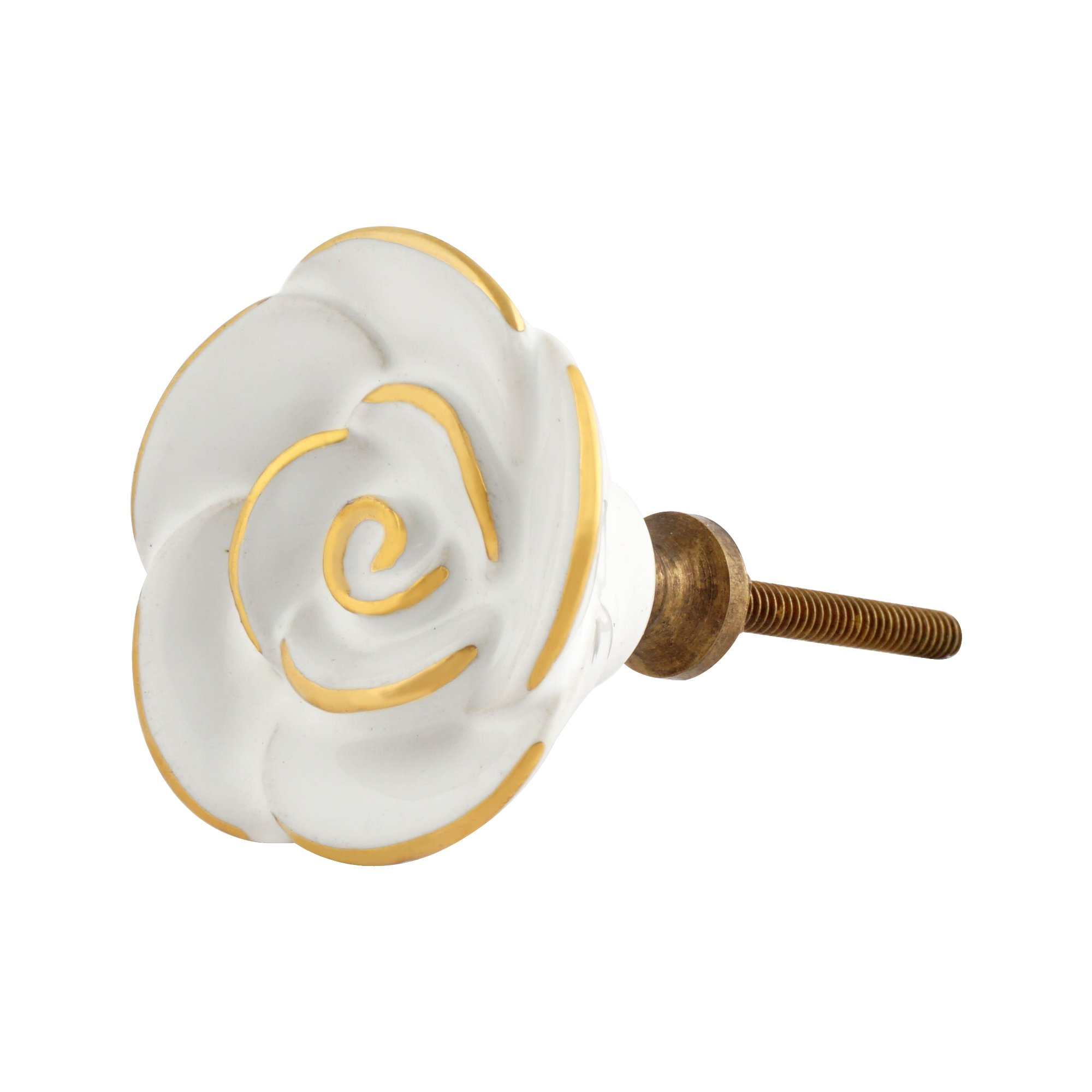 Set of 4 White Rose Decorative Ceramic Knobs – Ornate Cabinet Pulls for Cabinet, Dressers and Drawers – Rose Drawer Knobs for Bathroom, Bedroom, Kitchen, and Living Room by Artisanal Creations