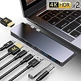 Gikerry - Adaptador de hub USB tipo C con 2 puertos HDMI 4K, 3 USB C (1 carga PD, 2 transferencia de datos), 2 puertos USB 3.0, 1 conector de auriculares compatible con MacBook Pro de 13 y 15 pulgadas MacBook Air 2018, Gris espacial