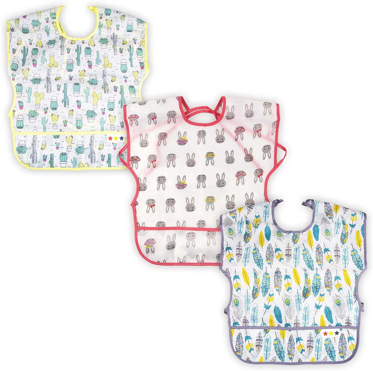 3 Pack Baby & Toddler Waterproof Bib Short Sleeve Feeding Bibs Smock Set for Girl Boy with Pocket & Food Crumb Catcher | Stain and Odor Resistance | 12 Months - 36 Months