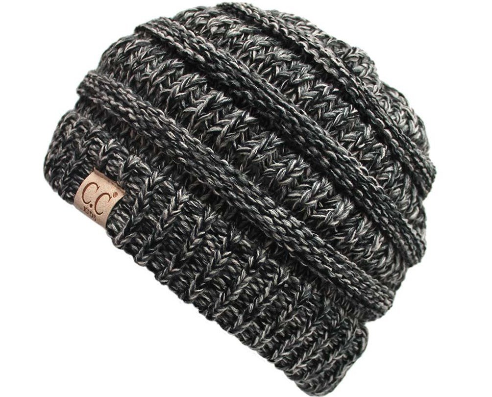 H-3847-816.06 Kids Beanie (NO POM) - Grey/Black #31