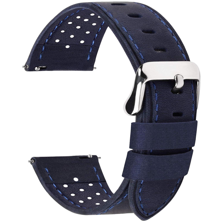 Fullmosa Correa de Reloj 18mm 20mm 22mm 24mm liberación rápida, 5 Colores Breeze Correa de Cuero de Banda de Piel de Becerro, 18mm Azul Oscuro