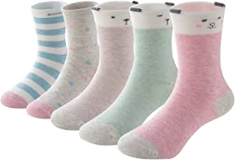 SUNBVE Baby Toddler Little Girls' Cute Animals Cotton Crew Socks 5 Pack