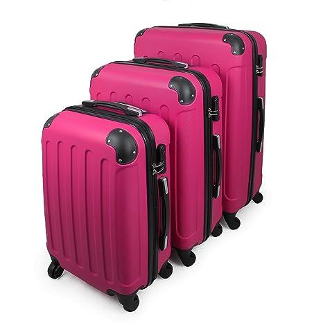 Todeco - Juego de Maletas, Equipajes de Viaje - Material: Plástico ABS - Tipo