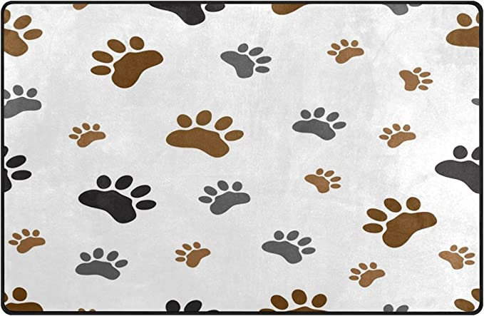 WOZO Black White Footprint Paw Print Area Rug Rugs Non-Slip Floor Mat Doormats Living Room Bedroom 60 x 39 inches