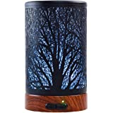 Aromatherapy Essential Oil Diffuser, Metal Cover Oil Diffuser, Waterless Auto Shut-Off,Ultrasonic Cool Mist Humidifier,7 Colors Changing LED Night Light (Tree)