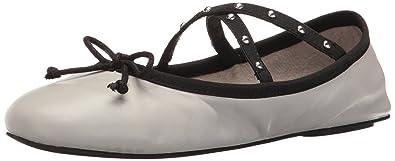 Steve Madden Women's Twirls Ballet Flat, Grey Leather, ...