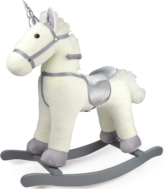 Leomark Mecedora Infantil Caballo - Romeo - Balancín de Juguete con Sonidos, Peluche para Niños Bebé, Unicornio con Cuerno Plata, Alto: 76 cm (Silver)