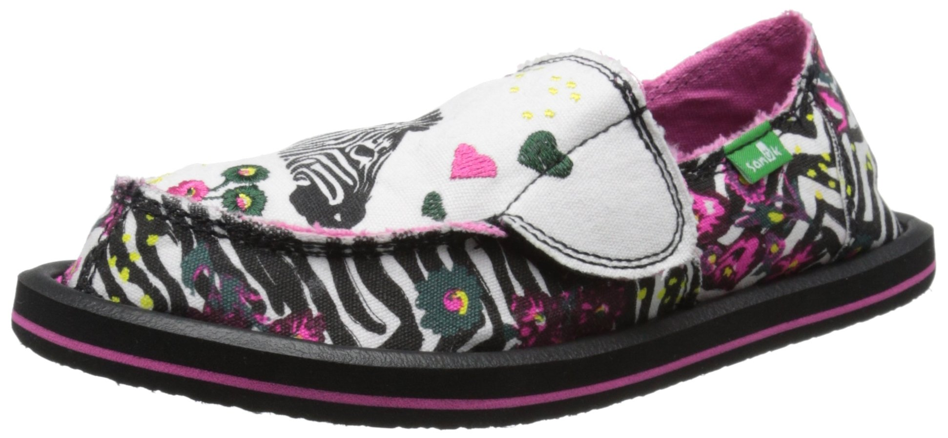 Sanuk Kids Scribble LL Girls Sidewalk Surfer Shoe (Toddler/Little Kid/Big Kid), Zebra Floral, 2 M US Little Kid