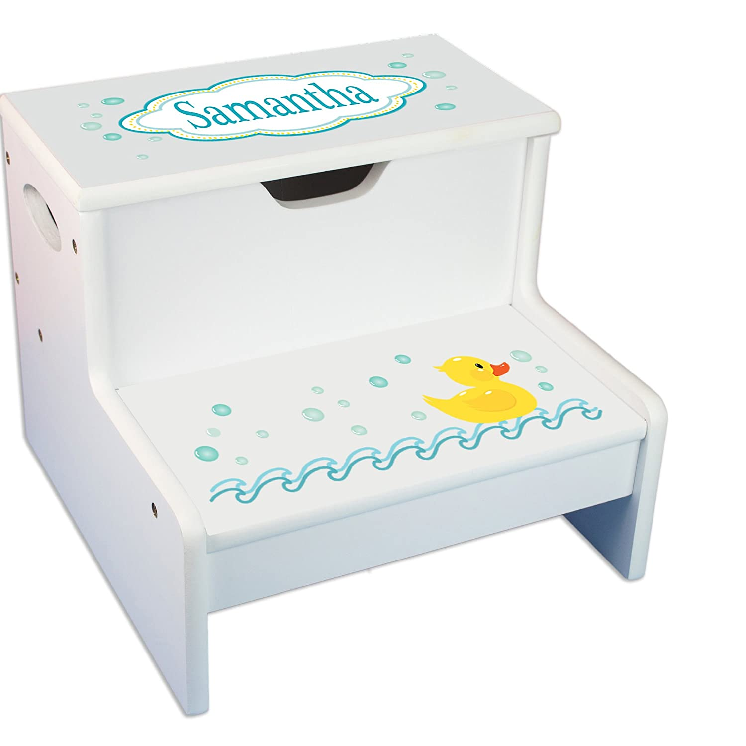 Personalized Rubber Ducky White Childrens Step Stool with Storage MyBambino step-whi-228