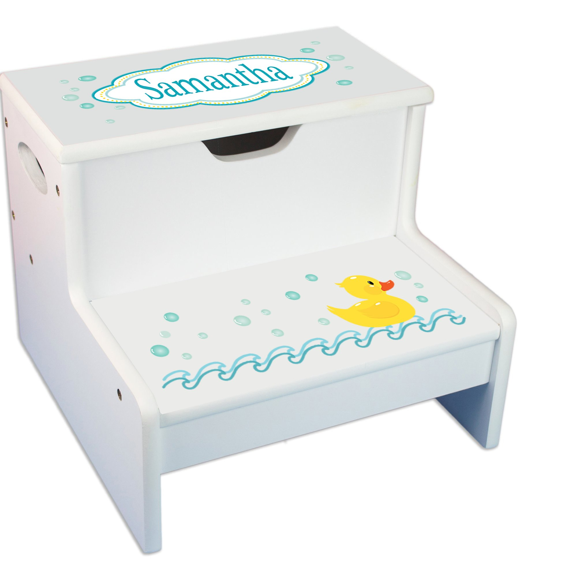 Personalized Rubber Ducky White Childrens Step Stool with Storage