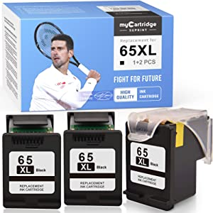 myCartridge SUPRINT Remanufactured Ink Cartridge Replacement for HP 65XL 65 XL Eco-Saver use with Envy 5055 5052 5012 DeskJet 3755 2622 3752 2655 2600 2652 2636 2642 3720 3722 (Black, 1 + 2 Pack)