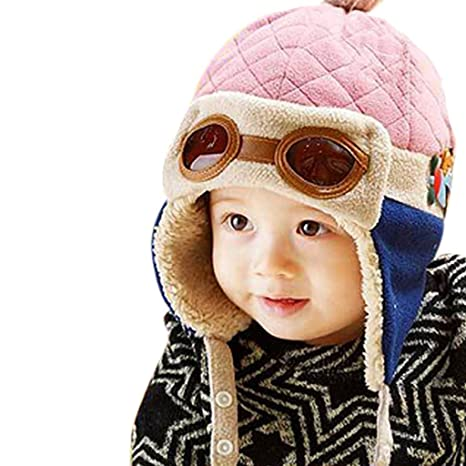 Toddlers Hat Pink Warm Pilot Aviator Cool Crochet Earflap Beanie Cap For Unisex