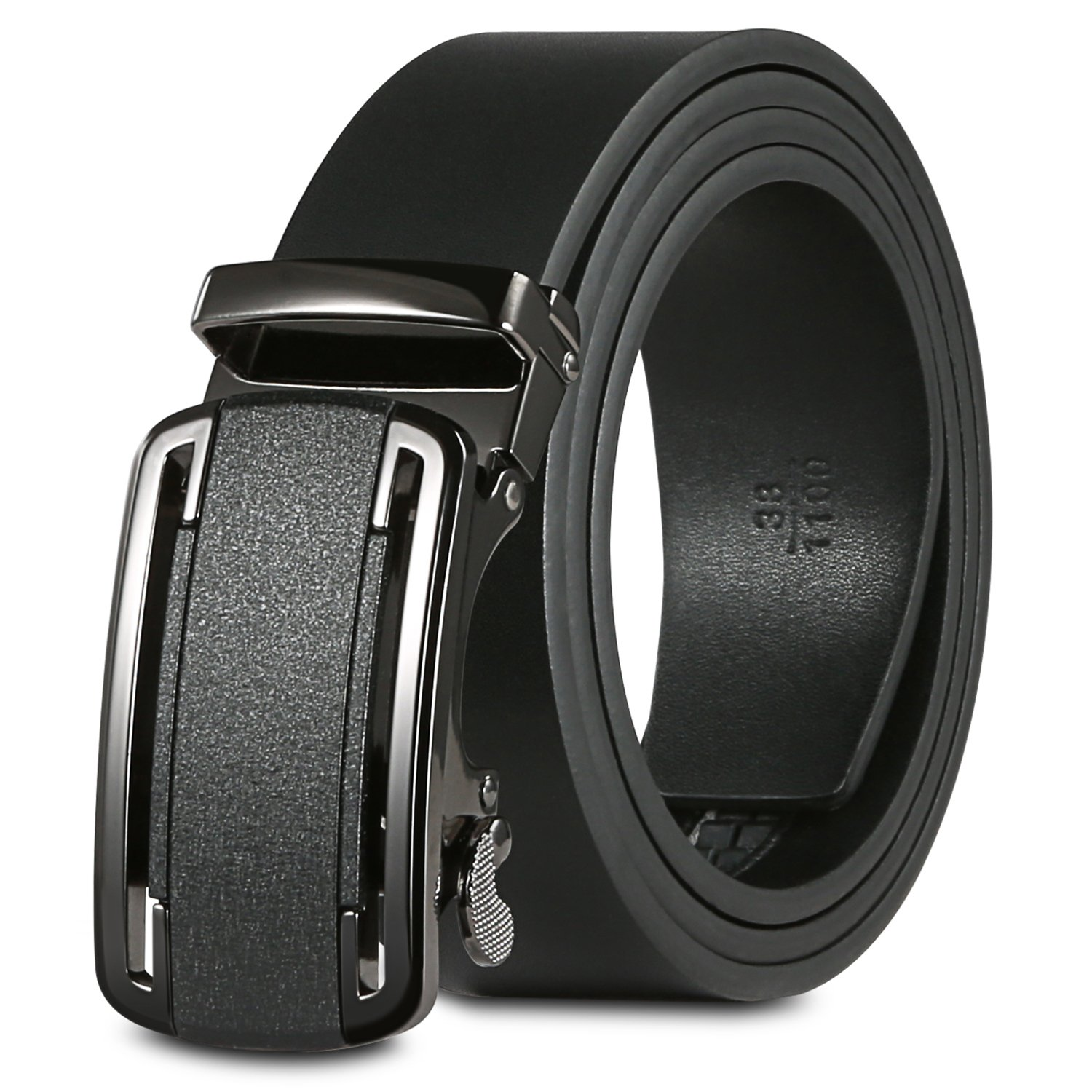 50''-62'' Leather Belts For Men Big And Tall With Removable Click Buckle Automatic Ratchet Dress Belt