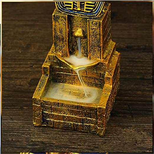 VOSAREA Quemador de Incienso de Reflujo Estatua Egipcia Incensario de Egipto Incensario de Aromaterapia Incensario Adorno para Yoga Hogar Oficina Artesan/ía Decoraci/ón Ornamento