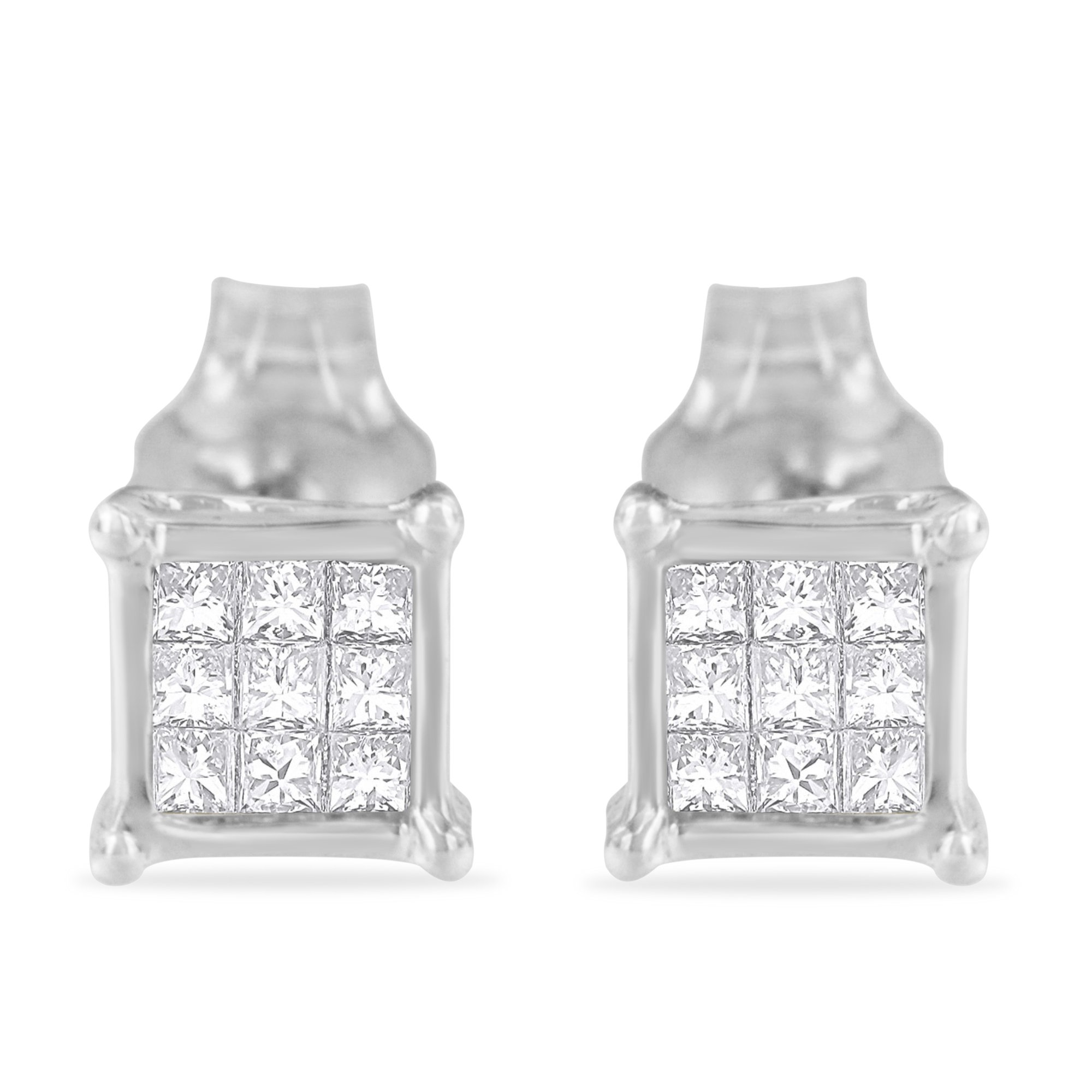 Sterling Silver Multi-stone Princess-cut Diamond Stud Earring (0.2 cttw, H-I Color, I1-I2 Clarity)