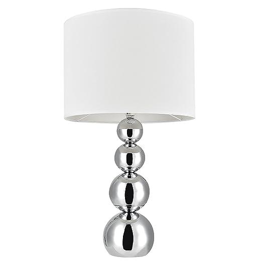 [Lux.pro] Lámpara de mesa moderna (E14) - Cromo, blanco