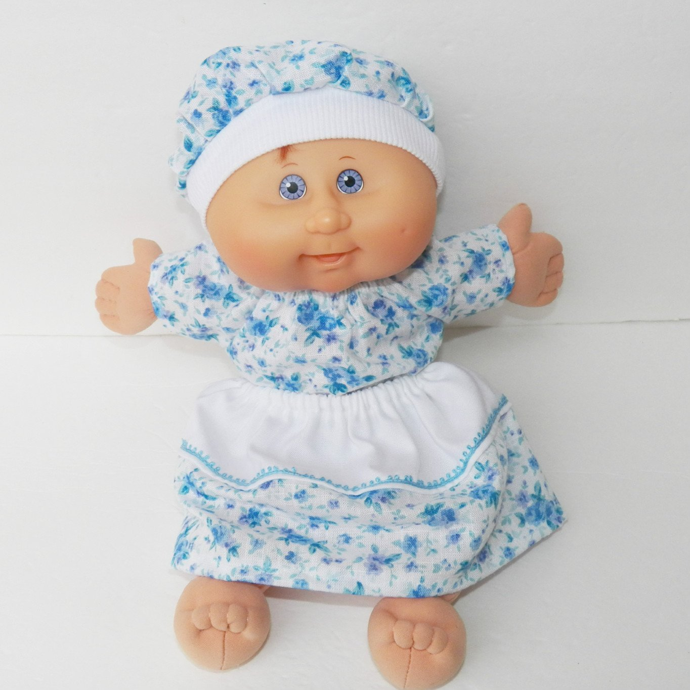 Cabbage Patch KIDS 14 inch doll clothes handmade Blue Floral Skirt and Blouse