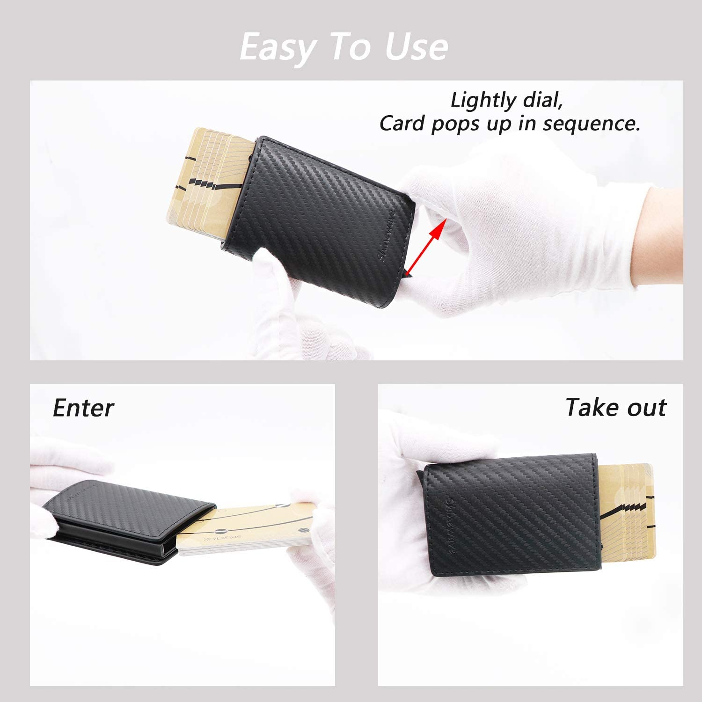 Magnetic Closure Design Slim Minimalist Wallet Lightweight Aluminum//Metal Front Pocket Wallet Credit Card Holder Shinewave RFID Blocking Card Holder//RFID Wallets for Men Carbon Fiber PU Leather