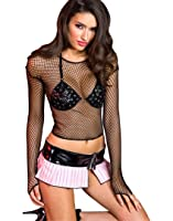 MUSIC LEGS Women's Spandex Long Sleeve Fishnet Cami