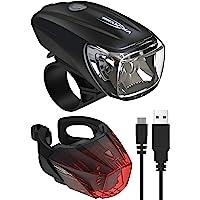 ANSMANN Fietsverlichtingsset StVZO-goedgekeurd - werkt op accu en is oplaadbaar via USB, CREE LED, regenbestendig…
