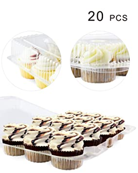 Paquete de 20 cajas para tartas, 12 mini contenedores para cupcakes, caja para cupcakes: Amazon.es: Hogar