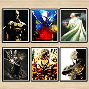 Z Color One Punch Man Hero HD Digital Picture Genos Anime Wall Art Print Decor Poster,8 x 10 Inches,Set of 6 Pieces,No Frame