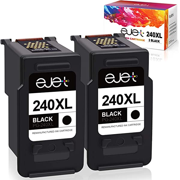 Extra High Yield ZET Remanufactured Ink Cartridge Replacement for Canon PG-240XXL 240XXL Black, 2 Pack