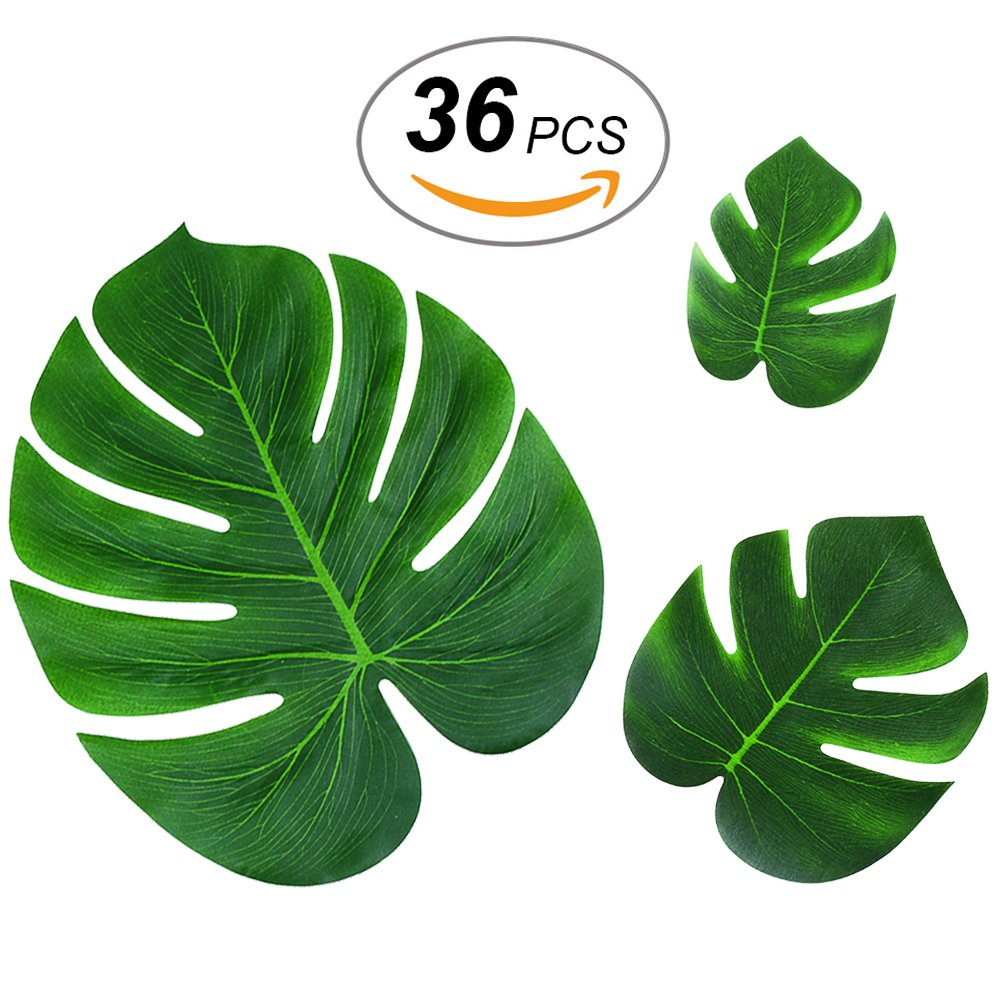 36pcs Tropical Palm Leaves Hawaiian Luau Party Decorations Artificial Leaves Garland Decor Leaf Placemats Impress Your Big Day by AXIN