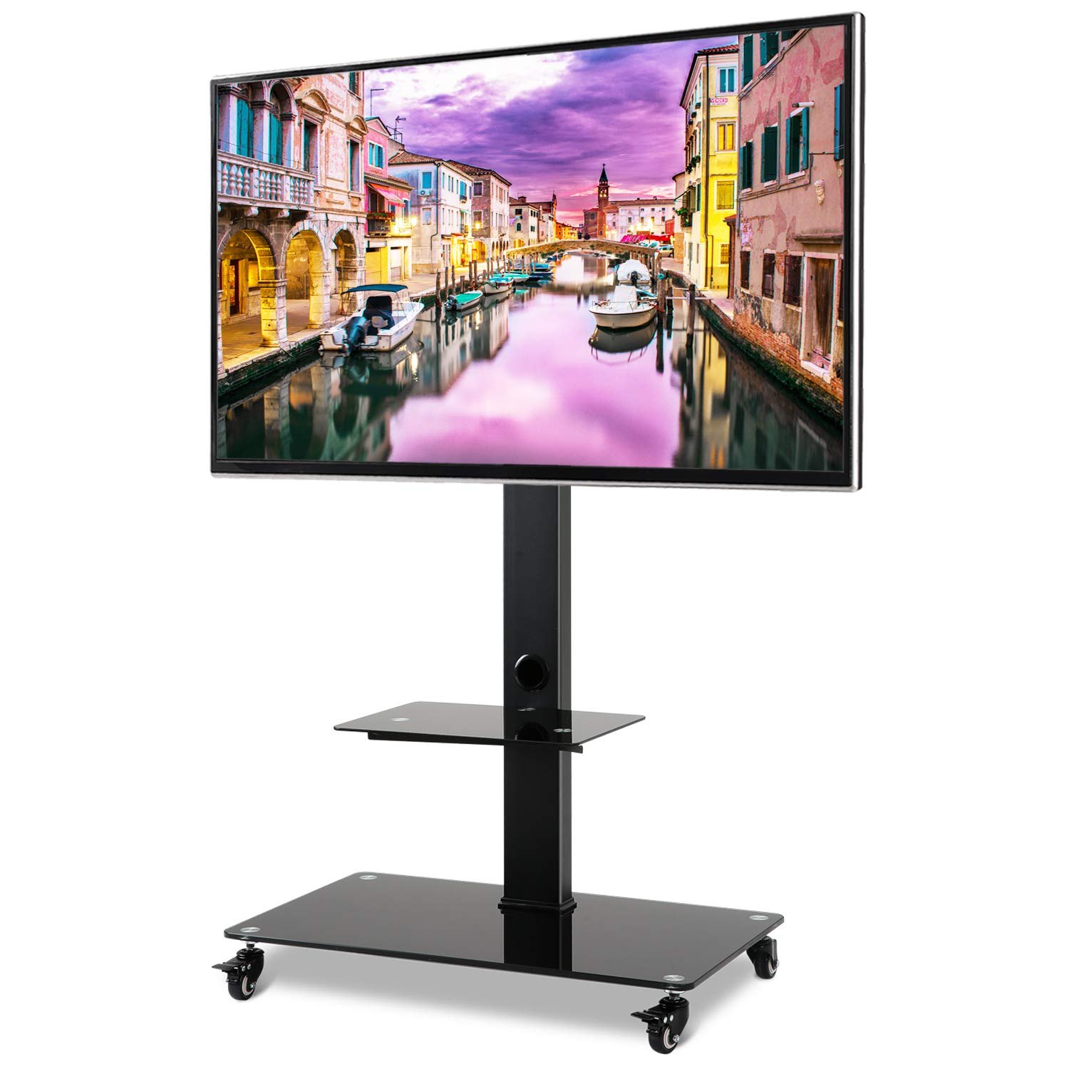 Rolling Moblile TV Stand Cart with Audio Shelf and Wheels, for 32 37 42 46 50 55 60 65 inch LCD LED OLED QLED Flat Panel and Curved TVs